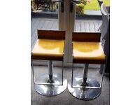 2 No. Wooden & Chrome Barstool