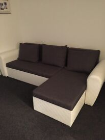 White/Grey corner sofa bed and chair