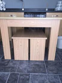 Oak effect dining table and 4 stools