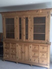 Stunning rustic pine sideboard and dresser top. Can be used as separate sideboard and book case.