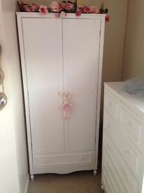 Childrens double wardrobe with draw and shelf