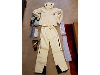 Ladies Ski jacket (10/12), salopettes (10/12), ski gloves, ski goggles, ski socks & head band