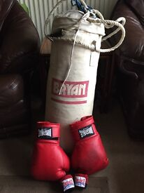 Punch bag, gloves and wrist wraps