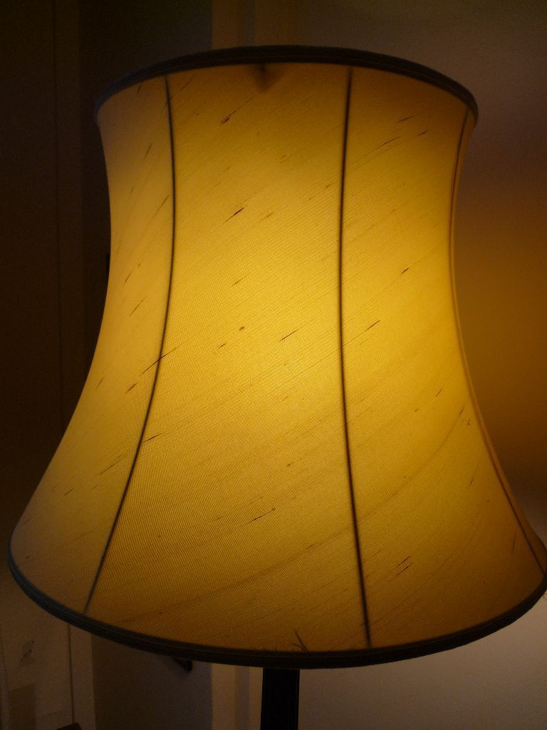 Retro John Lewis Large Traditional Empire Shape Lined Round Standard Lamp Shade Yellow Silk