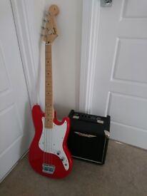 Fender Squier Bronco short scale bass & Ashdown Tourbus 15 bass amp