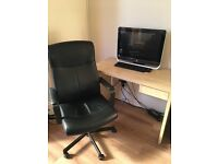 Large Black Leather Look 5 Wheel Swivel Office Chair For Sale