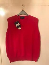 Women's Peter Scott Scotland Thin Rose V Neck Pure New Wool Tank Top 40 M, L