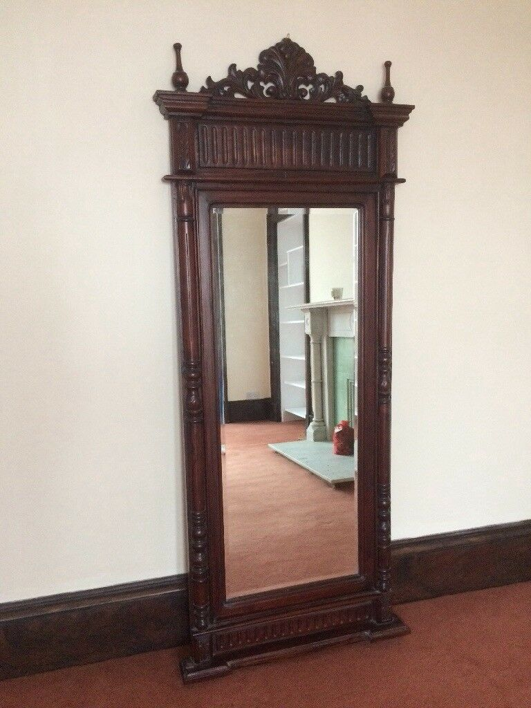 Ornate Dark Wood Mirror 6ft 6 X 2 Ft