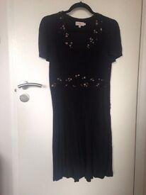 Cath Kidston black & floral silk tea dress - size 10