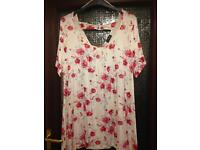Yours clothing cream and red floral top