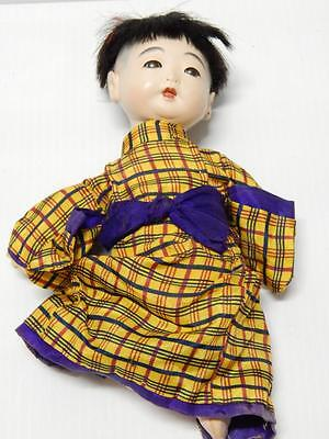 ANTIQUE VINTAGE JAPAN JAPANESE ICHIMATSU GOFUN /EGGSHELL? DOLL SILK CLOTHING