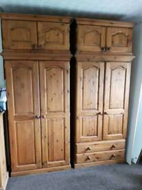 Pair of Solid Wood Double Wardrobes