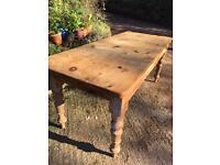 Antique poss Victorian waxed pine Lg Farmhouse Refectory Table . drawer. CAN DELIVER