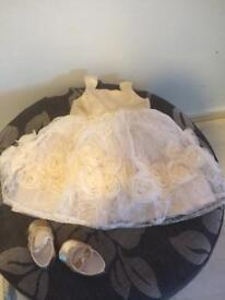 Gold baby party dress and shoes