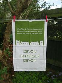 DEVON GLORIOUS DEVON tea towels, 100% cotton, designed in Topsham, made & printed in UK.