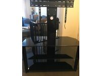 Black glass TV stand for up to 55 inch TV