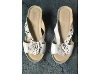 White ladies pavers sandals size 4