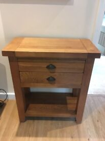 Solid oak two drawer console table