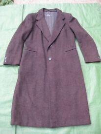 Brand New Vintage Brown and Charcoal Grey Woolen Coat in Herring-Bone Pattern