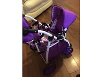Girls toy double buggy