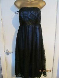 MONSOON BEAUTIFUL BLUE STRAPLESS DRESS SIZE 12 WITH LACE OVER THE TOP