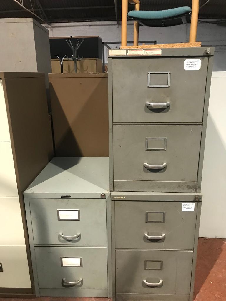 2 Draw Metal Filing Cabinets (no keys)