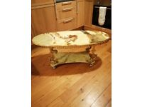 SOLID ONYX AND BRASS ANTIQUE CHINESE TABLE
