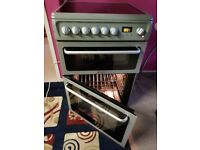 CLEAN Almost New SILVER electric fan assisted, grill double oven freestanding cooker HOTPOINT
