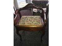 Fabulous Antique Edwardian Decorative Seat / Piano Stool /Dressing Stool with Storage
