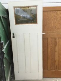 Art Deco, 1930's styled front door with stained glass and panel detail