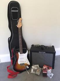 Bargain electric guitar package! Stratocaster, 30w Amp, 2 effects pedals, carry case