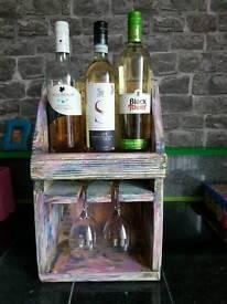 Shabby chic wine rack and glass holder