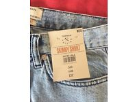 NEW - mens Topman skinny shorts 30W