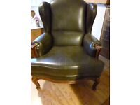 Leather Queen Anne Wingback Armchair / chair Dark Brown not Chesterfield