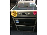 BEKO 60CM INDUCTION CEROMIC TOP ELECTRIC COOKER IN SILIVER
