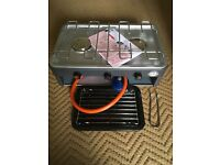 Camping gas grill and double burner