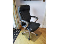 Black PU Leather high-back executive style office chair