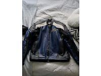 Alpinestars Leather Jacket, Black,White,Blue Size Uk 38 Eu 48