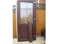 ROSEWOOD UPVC DOUBLE GLAZED REAR/GARAGE DOOR - VGC - ONLY FOUR YEARS OLD