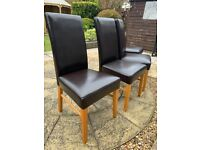 4 dining chairs faux leather brown