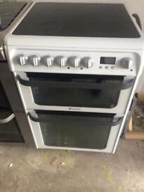 White Hotpoint 60cm ceramic hub electric cooker grill & double fan assisted ovens with guarantee