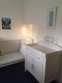 5 piece white cot bed and furniture