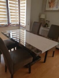 MARBLE EFFECT MDF Dining Table and 4 Chairs