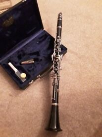 Buffet Crampon B12 clarinet in hard case + reeds, music, and stand