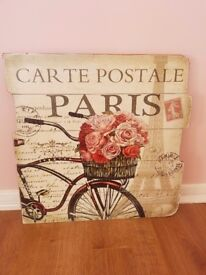 French /vintage floral wooden wall picture