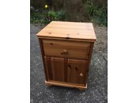 Pine bedside cabinet with round feet, clean condition