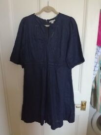 stunning unworn navy linen dress by Whistles size 14-16 (label size 16)