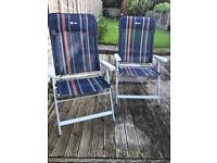 Pair of folding reclining camping chairs