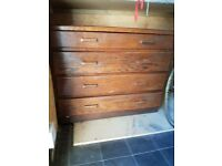 Mid-century, solid wood chest of drawers