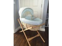 Moses basket, mattress and mamas & papas stand for sale